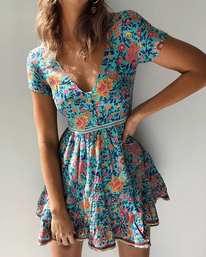 2019 V Neck Button Floral Print The Dress For Women Short