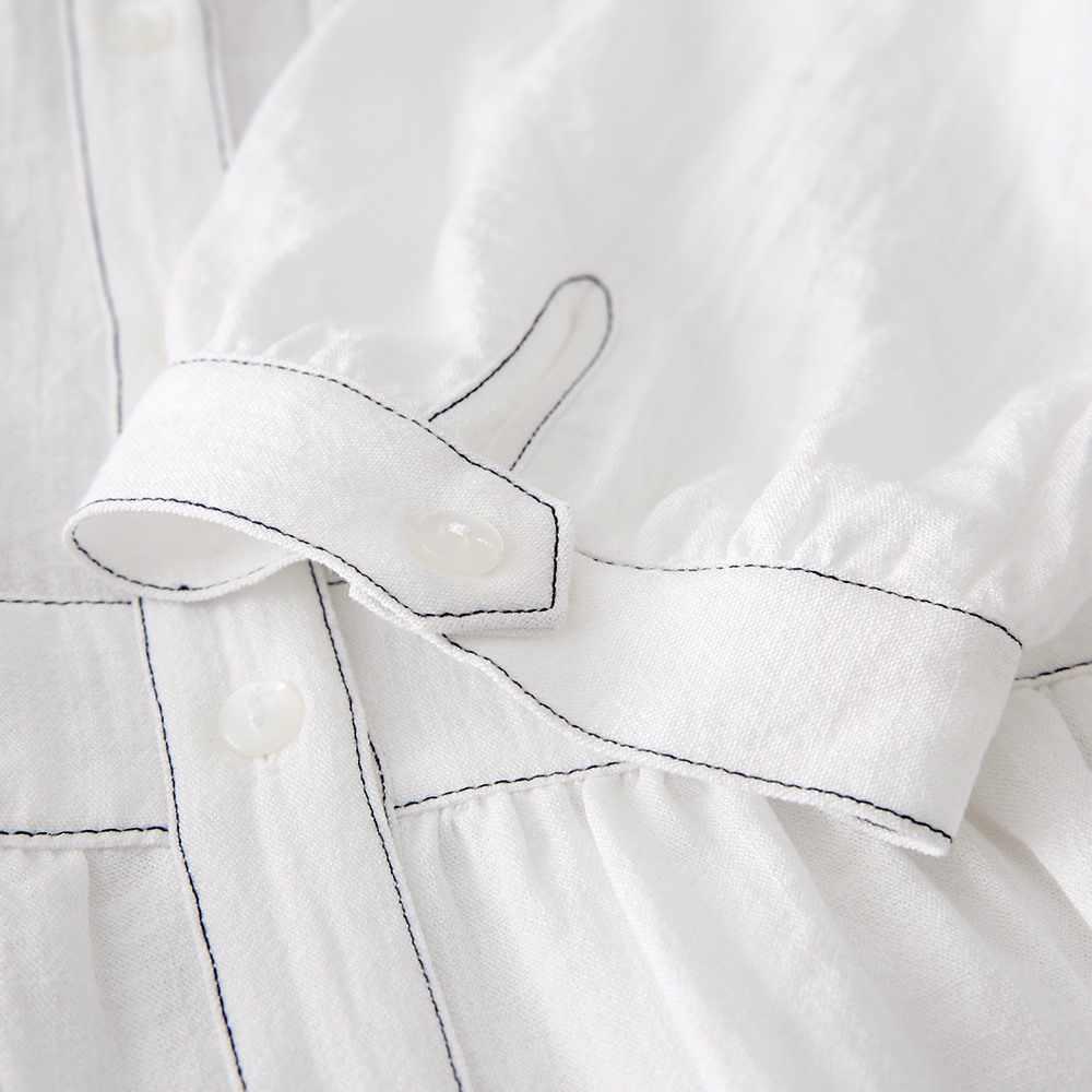 Metersbonwe Đầm Voan Dài Mùa Hè Trắng Vestidos De Verano Nữ Lưng Thun H-Dòng Áo Thun Cotton Nữ Vintage