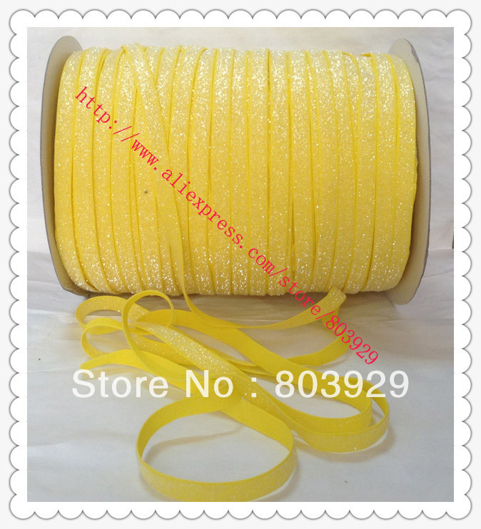 Stretch Metallic Headband Ribbon Daffodil Sparkle Ribbon 3 8 Elastic Frosted Daffodil Glitter Velvet Ribbon