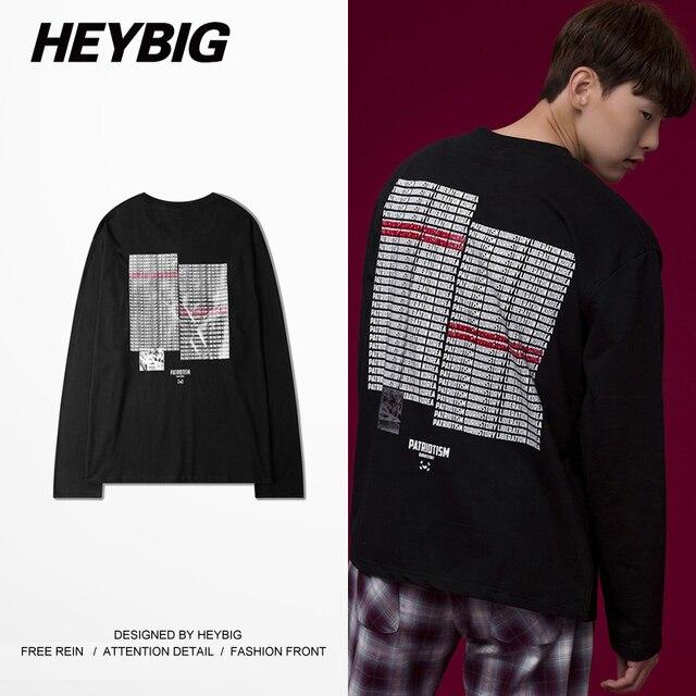 Long Sleeved T-shirt Korean 2016 Hot Winter tee O neck Patriotism Theme Tops Asian Size Hip hop men Streetwear Heybig Clothing
