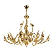 ФОТО Modern swan led Chandelier light Art Deco European 12/18/24 head Gold chrome black white metal plating Dining Room Cafe Fixture