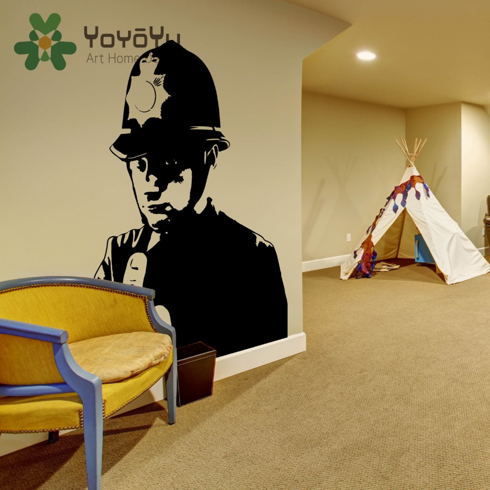 Wall graffiti vinyl lettering - Decal Banksy Policeman Graffiti Vinyl Wall Sticker Police Middle Finger Room Decal Decor Scotland Yard Cop