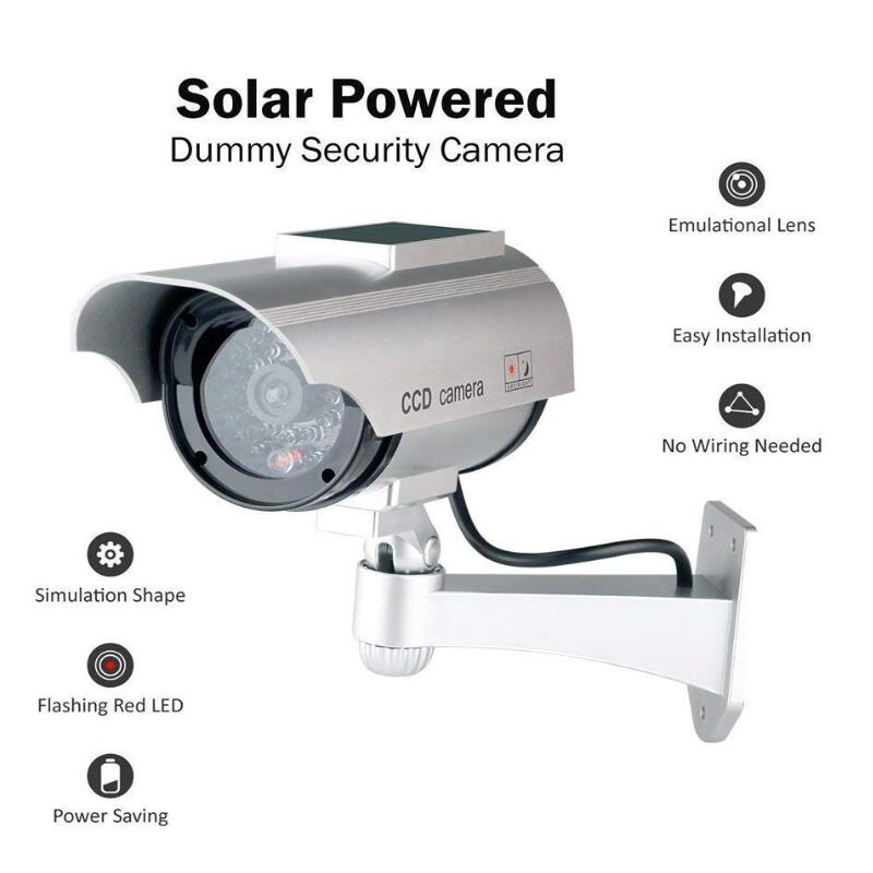 Solar Powered Waterproof Fake Camera Dummy CCTV Security Surveillance Flashing Red LED Light Video Anti-theft Camera YZ-3302Solar Powered Waterproof Fake Camera Dummy CCTV Security Surveillance Flashing Red LED Light Video Anti-theft Camera YZ-3302