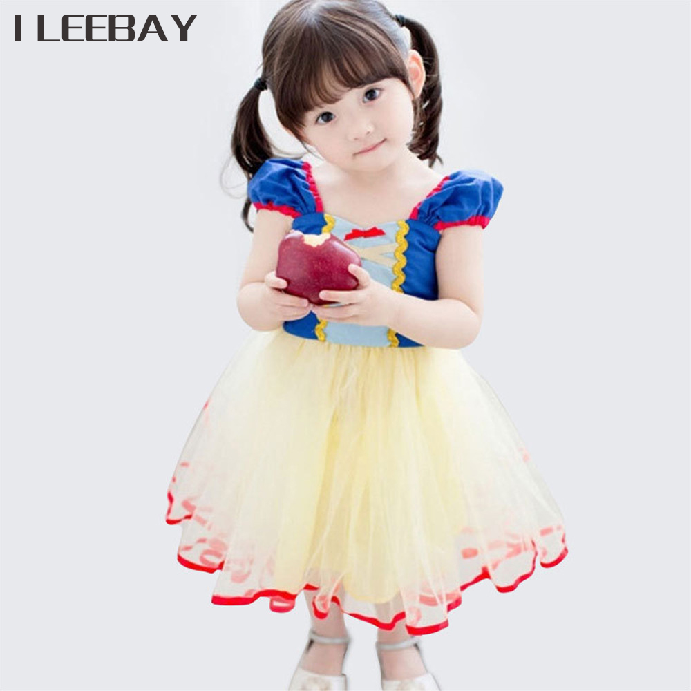 Baby Girls Princess Dresses Halloween Party Tutu Dress Kids Snow White Cosplay Ball Gown Children Bow Cartoon Costume Vestidos ftlzz 2017 summer new girls snow white princess ball gown dress kids girls party cosplay dresses costume children girl clothing