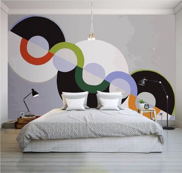 Photo Papier Peint Moderne 3d Stereo Personnalite Cercle Geometrique