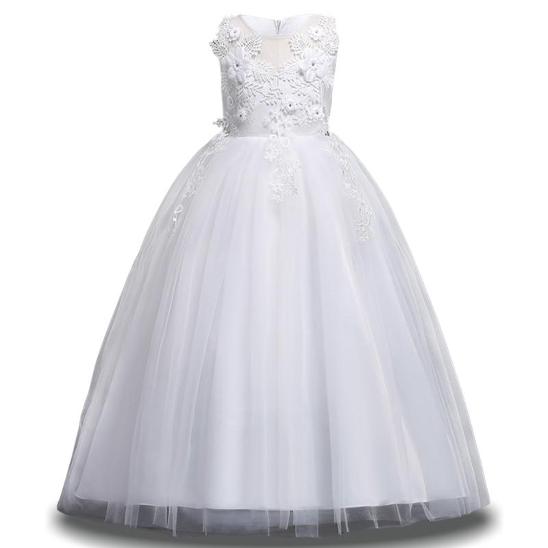 New Kids White Bridesmaid Wedding Flower Girls Dress For
