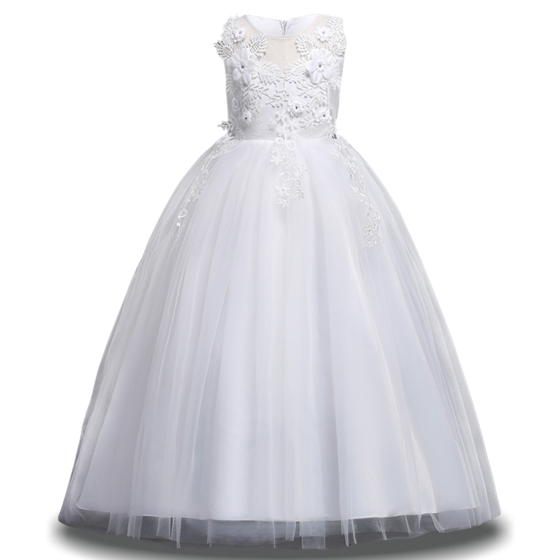 New Kids White Bridesmaid Wedding   Flower     Girls     Dress   For   Girls   Princess Party   Dresses   Children   Girls   Clothing 6 7 8 9 10 12 Year