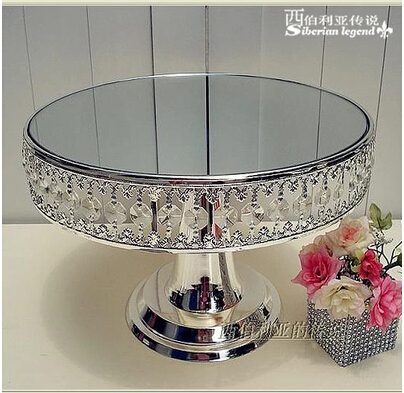 Free shipping silver metal mirror cake stand dessert pan cake tray cake pallet dessert plate cake tools party supplies DGP011 thumbnail