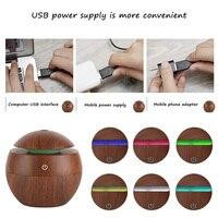 130ML Mini Portable USB Wood Grain Sonic Aromatherapy Humidifier Office Desktop Home Travel Water Spray Mist