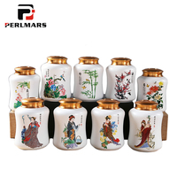 1PCS Chinese Style Tea Storage Jar Hand Painted Beauty Flower Pattern Ceramic Cans with Metal Double Seal Lid Kit Honey Canister