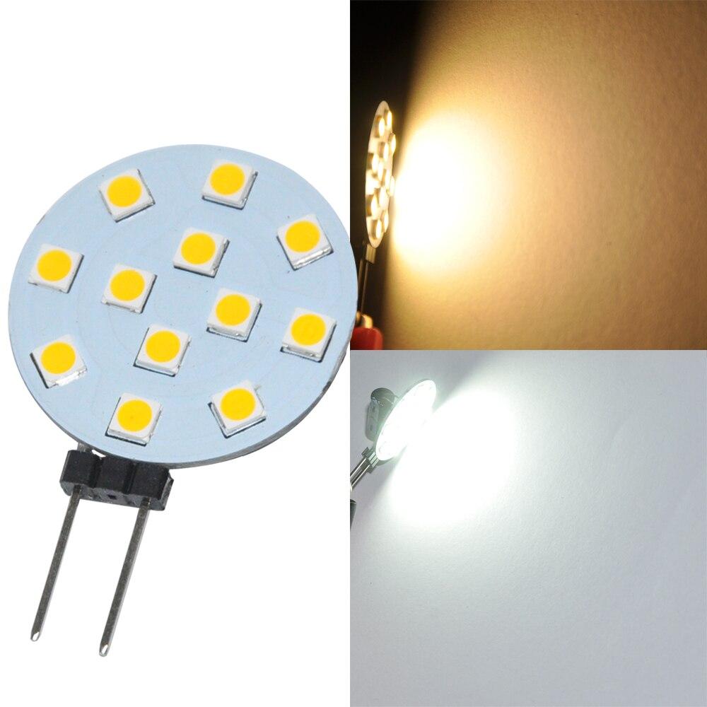 10 pièces 3.5W G4 LED 3030 12SMD 180 Degrés Blanc Marine Campeur RV lumière LED Lampe Ampoule AC DC 12V 24V LED