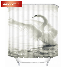 Home Creative Noble White Swan Printing Waterproof Mildew Fabric Shower Curtain Eco-Friendly Bathroom