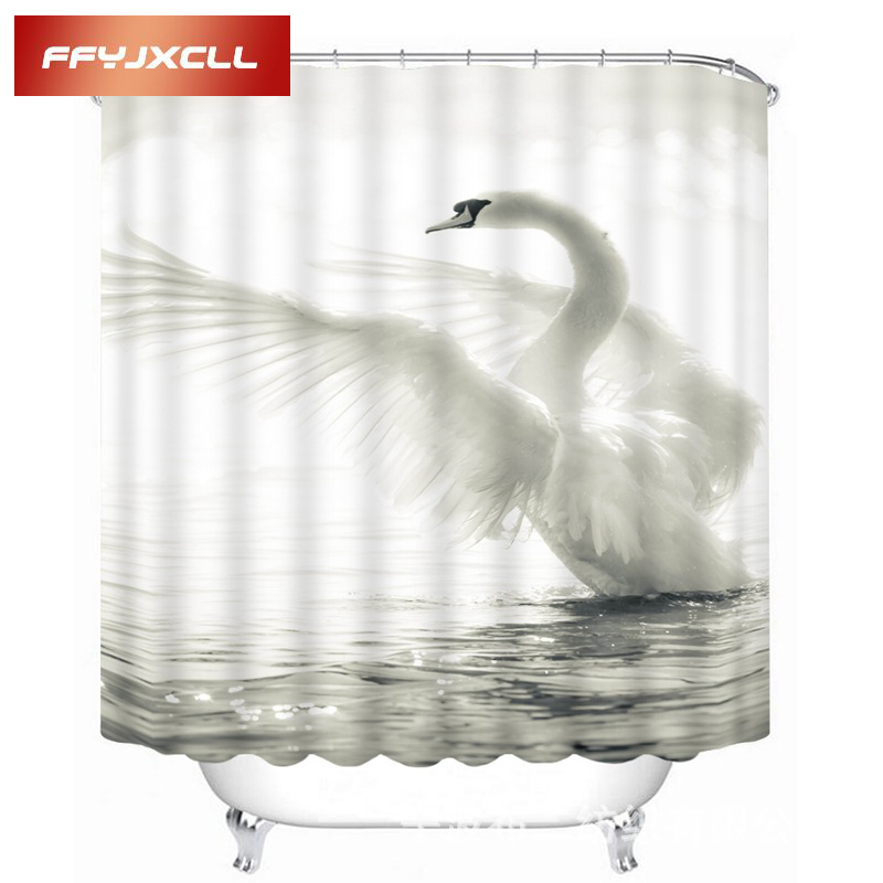 Home Creative Noble White Swan Printing Waterproof Mildew Fabric Shower Curtain Eco-Friendly Bathroom Curtain