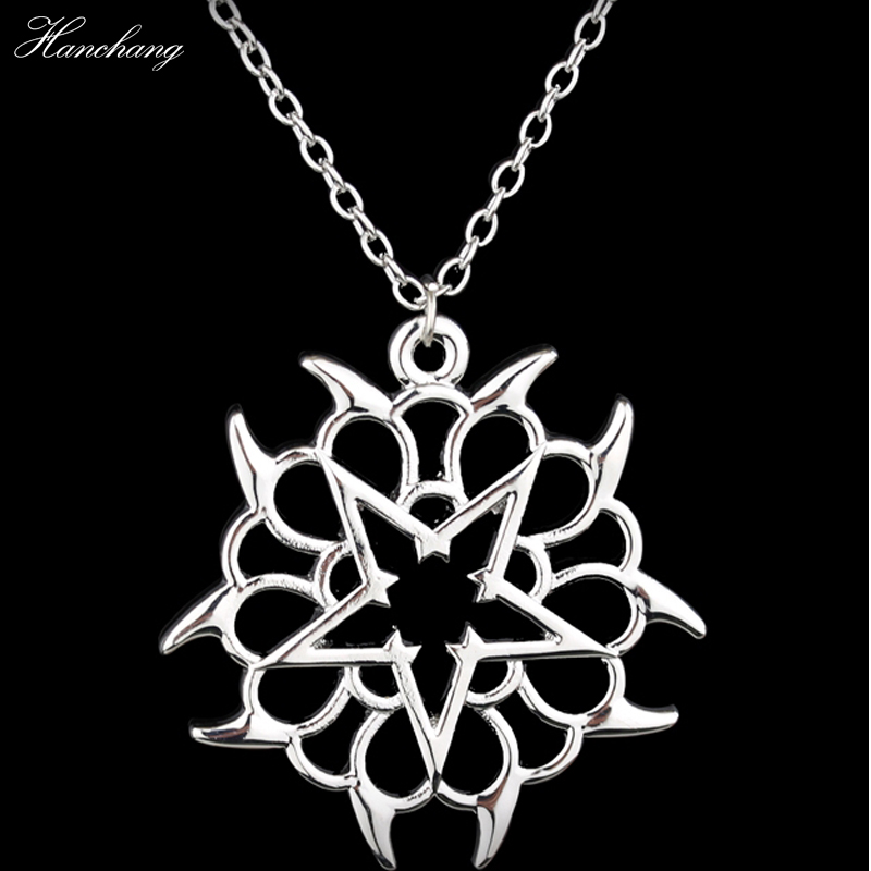 HANCHANG New Fashion Rock Band Black Veil Brides Rock Music BVB Logo Pendant Necklace Women Men Christmas Gift Jewellery