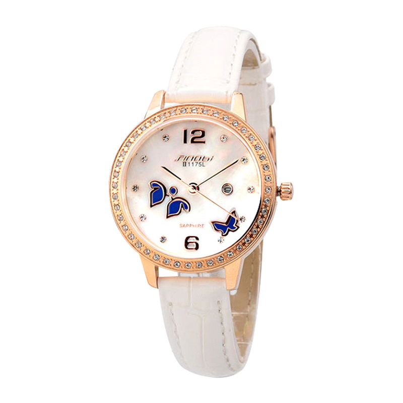 SINOBI Fashion Butterfly Luxury Rhinestone Watch Women Watches Leather Strap Quartz Watch Gold Watches Hour relogio feminino relogio feminino sinobi watches women fashion leather strap japan quartz wrist watch for women ladies luxury brand wristwatch