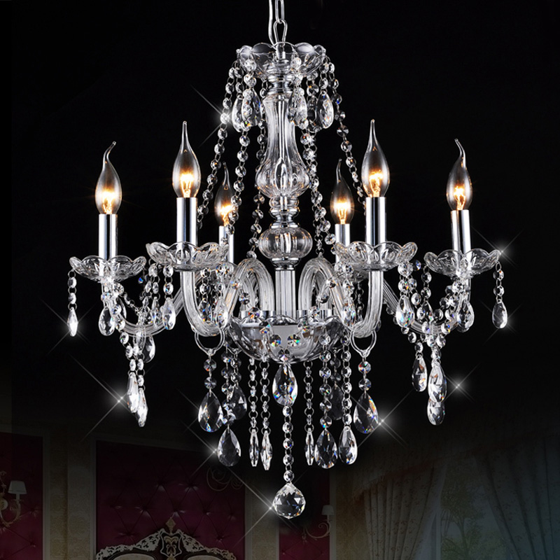 Ecolight Led Crystal Chandelier Light 6 Lights Transparent K9 Crystal Metal Chrome Chandeliers for Dinning Room