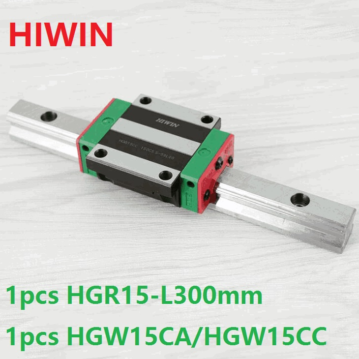 все цены на 1pcs 100% original Hiwin linear guide rail HGR15 -L 300mm + 1pcs HGW15CA HGW15CC linear flange carriage block cnc router онлайн