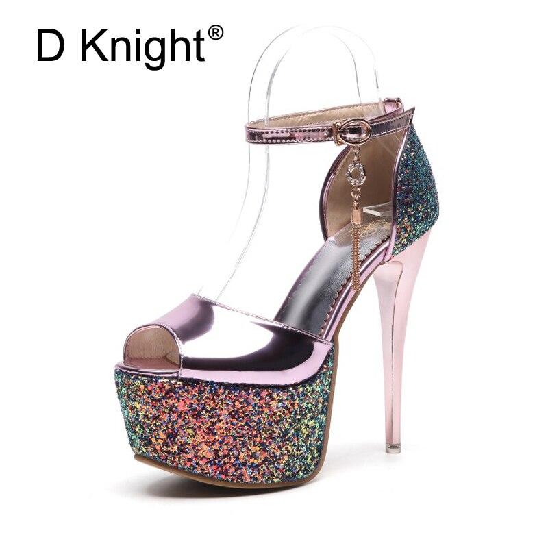 Women Wedding Shoes Bridal High Heel Luxury Glitter Sequins Stiletto Platform Sandals For Woman Lady Peep Toe Dance Pump Shoes kids glitter sandals elegant princess dance wedding dance party leather shoes heel student