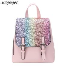 2d777f60be PU Leather Women Backpack Fashion Rucksack Sequins Small Backpacks Female  Girls Travel Flap Gold Bag hot