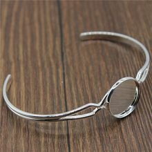 2 Colors Fit 16mm Round Glass Cabochon High Quality Copper Material Adjustable Bangle Base Blank Bezel Jewelry Making(China)