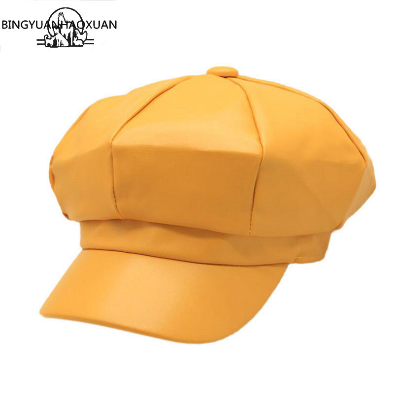 2019 New Arrivals Fashion Women PU Leather Octagonal Caps Newsboy Cap Vintage Bonnet Beret Style Retro Leather Hat