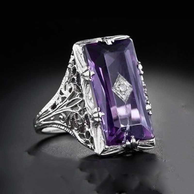 Tisonliz Полые циркон большой фиолетовый кристалл обрачальные кольца, помолвка кольцо для женщин кольца серебро женское кольцо ювелирные изделия Прямая доставка