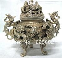 Asian Antique home decoration Tibet Silver dragon Incense Burner Metal crafts