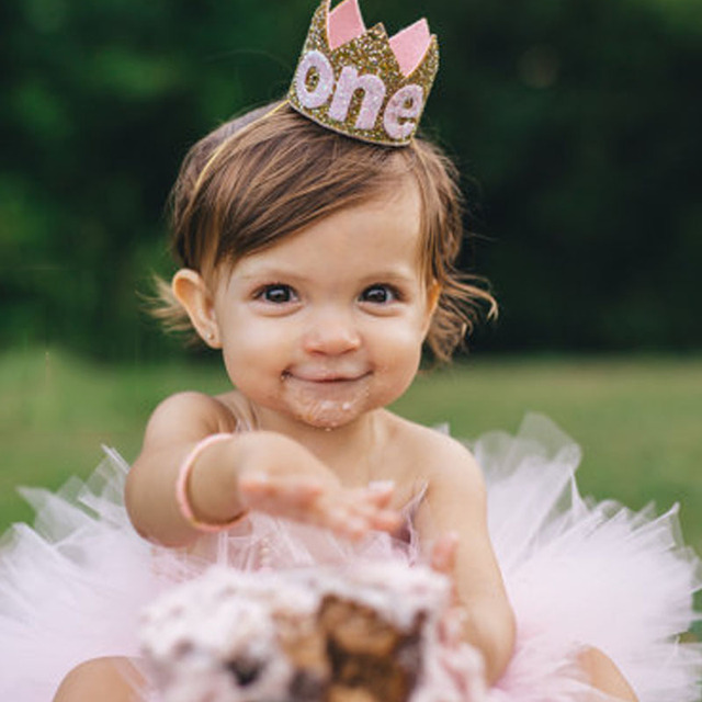 Baby Boy Girl First 1st Birthday Party Hat Gold Princess Prince Crown One Two Three Year Old Glitter Hair Accessory Headband