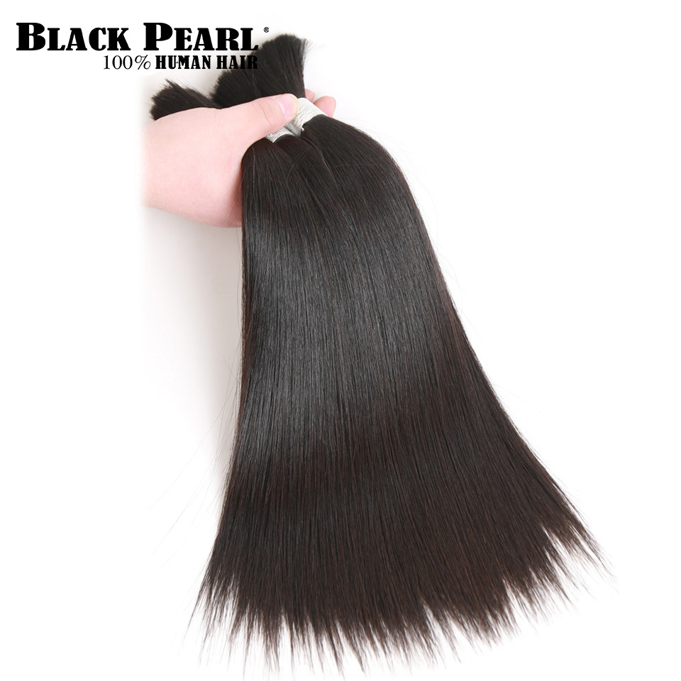 Brazilian Hair Bundles Braiding Hair-Extenion Black Pearl Bulk Weave Remy Straight Pre-Colored title=