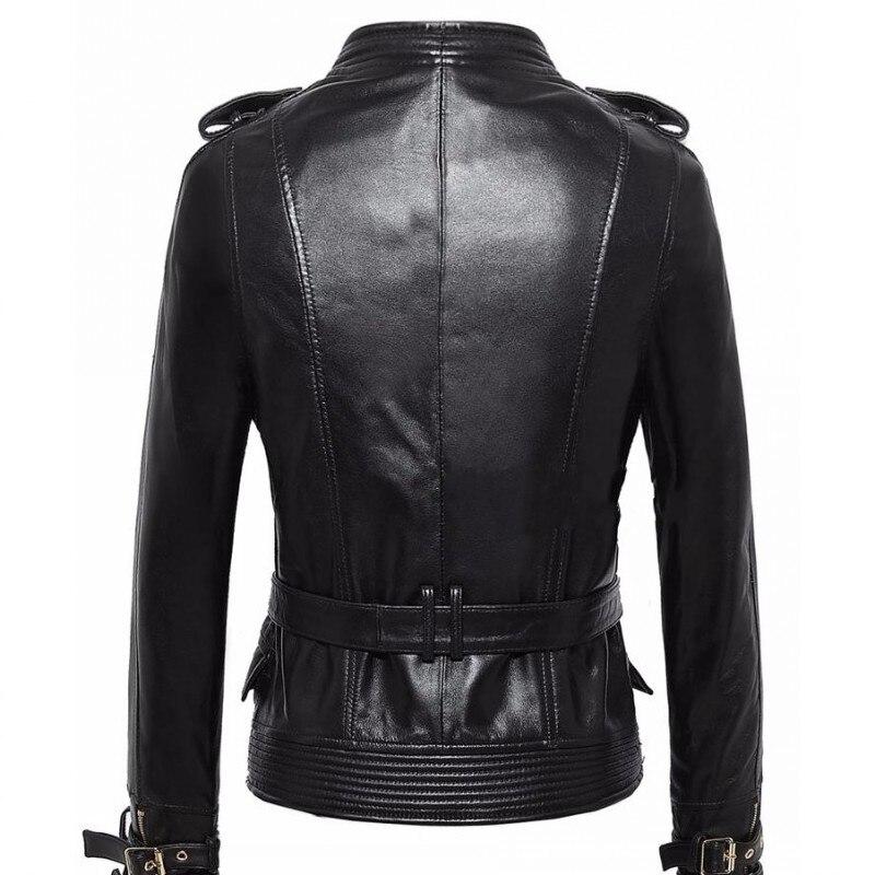 Femmes Mince Réel Mouton Court Black Peau Style Grande De Cuir Punk Jaqueta Rock Taille Manteau Moto Veste Ressort Véritable En DYH29EIWe