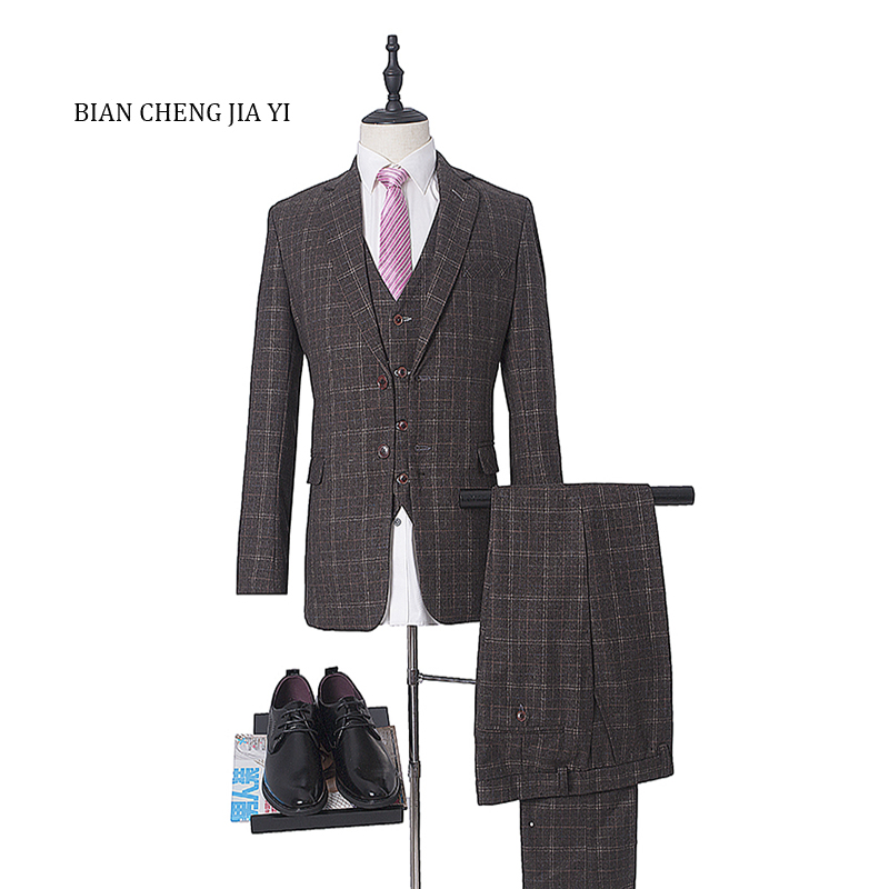 New brand 2019 Bespoke Men's Suits Wedding Groom High quality 3 Pieces (Jacket+Vest+Pants) Slim Fit Formal Tuxedos Suits Male