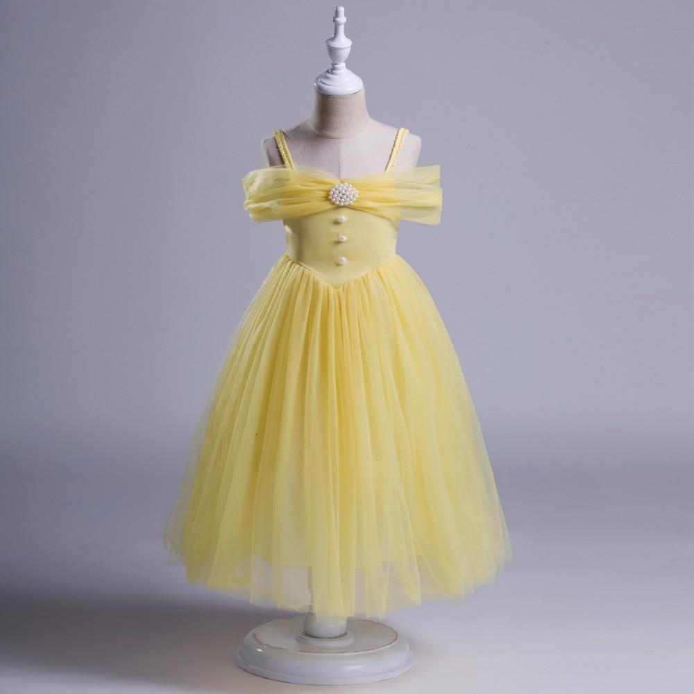 139a3d0f47f45 Filles perle Tulle licou robe hors épaule jaune et bleu couleur robe bébé  enfants princesse dentelle vêtements en gros dans Robes de Mère et Enfants  sur ...