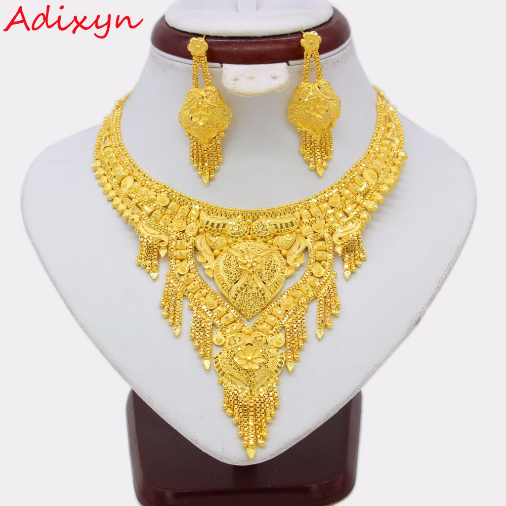 Adixyn Ethiopian Necklace Earrings Jewelry Set for Women Gold Color Bling Hanging Jewelry Dubai Arab Wedding