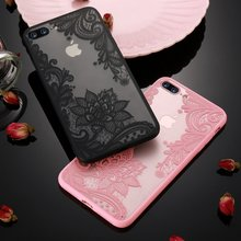 KISSCASE Phone Case For iPhone 5s 5 SE 6s 6 7 8 Plus Luxury Lace Flower TPU Back Cases For iPhone X Xr Xs Xs Max Cover Capinhas(China)