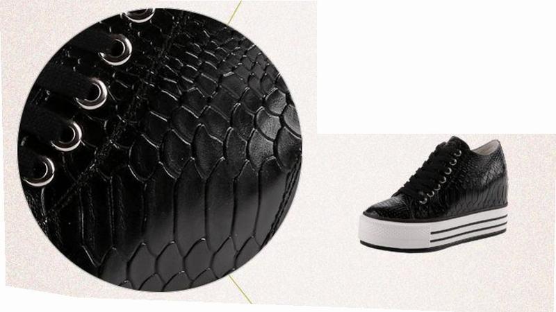 Chaussures Crocodile Serpent Plate forme Hauteur Ascenseur Cuir Nouvelle 2017 Black Véritable Hot Lacets Wedge Croissante Mode À Casual Dames q1Fxnzf