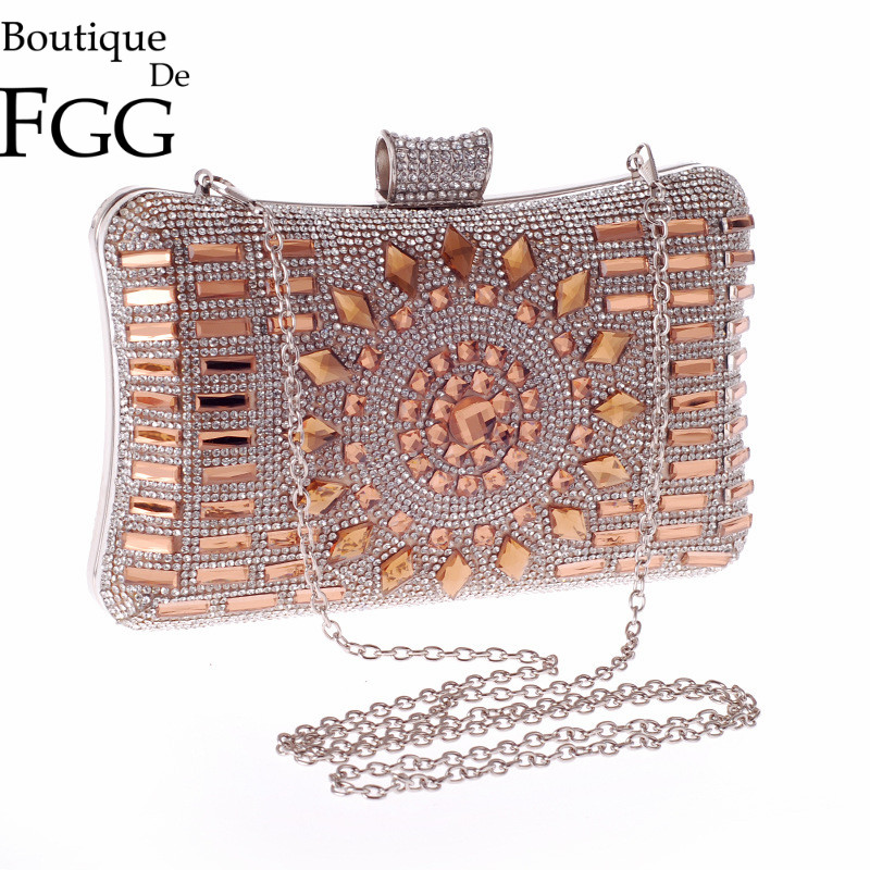 Luxury Hot Fixed Crystal Diamond Women Gold Evening Clutches Purse Lady Wedding Party Banquet Dinner Handbags Metal Clutch Bag