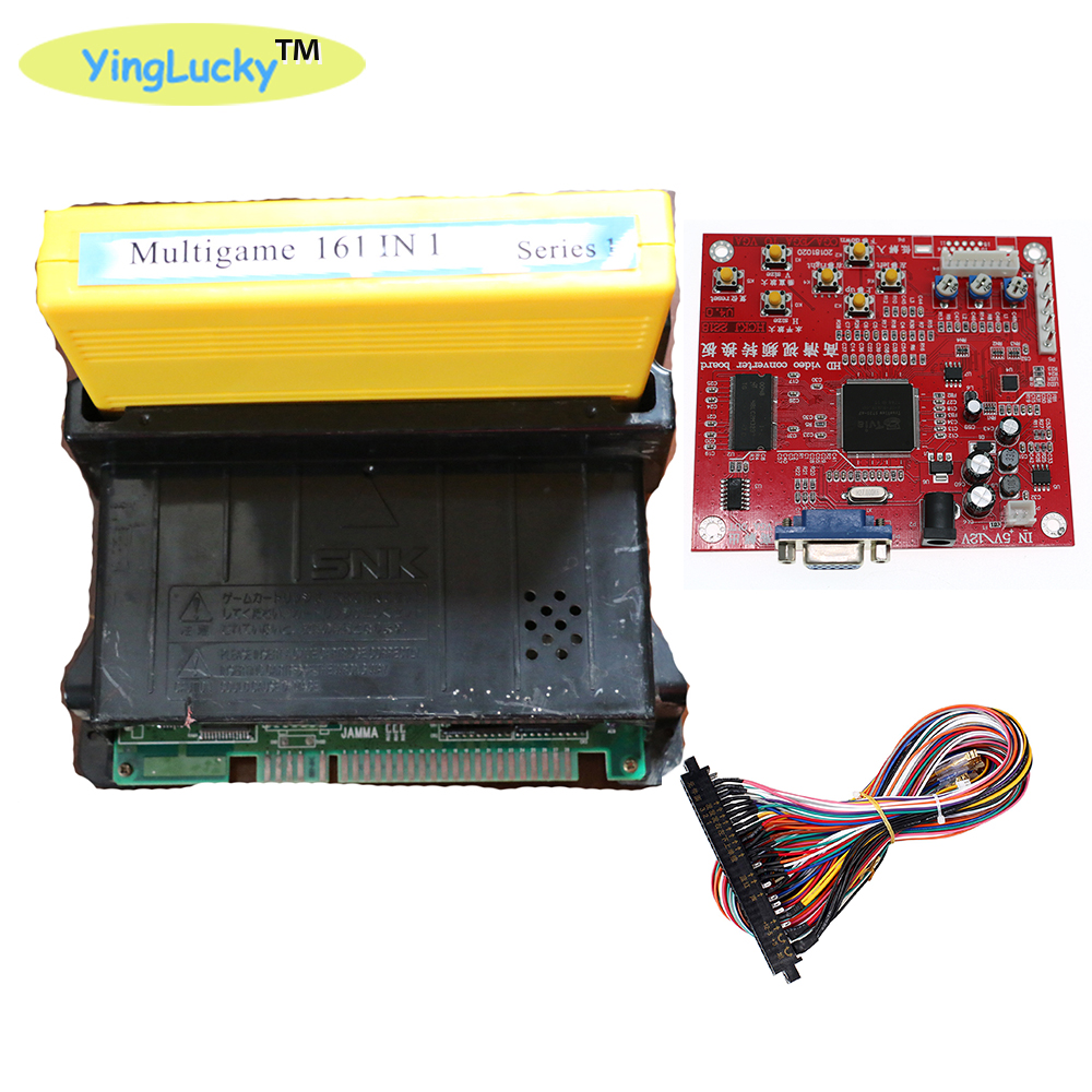 yinglucky Arcade JAMMA <font><b>CBOX</b></font> <font><b>MVS</b></font> SNK NEO GEO 161 in 1 KIT 28 pin wire arcade game king chip HD Video Game Consoles image