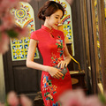 New Arrival Red Chinese Traditional Dress Women Silk Satin Cheongsam Dresses Long Red Evening Dresses