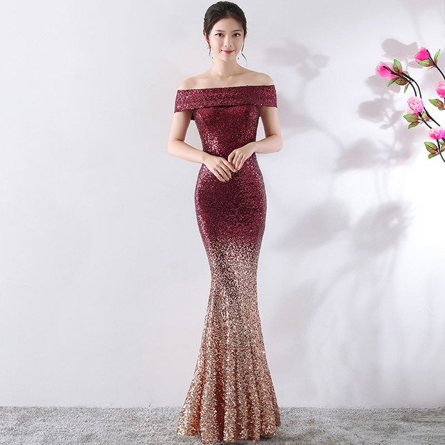 Red And Gold Gradient Sequins Slash Neck Off Shoulder Mermaid Cocktail Party  Sexy Dress Club Wear 9e9cf5693604