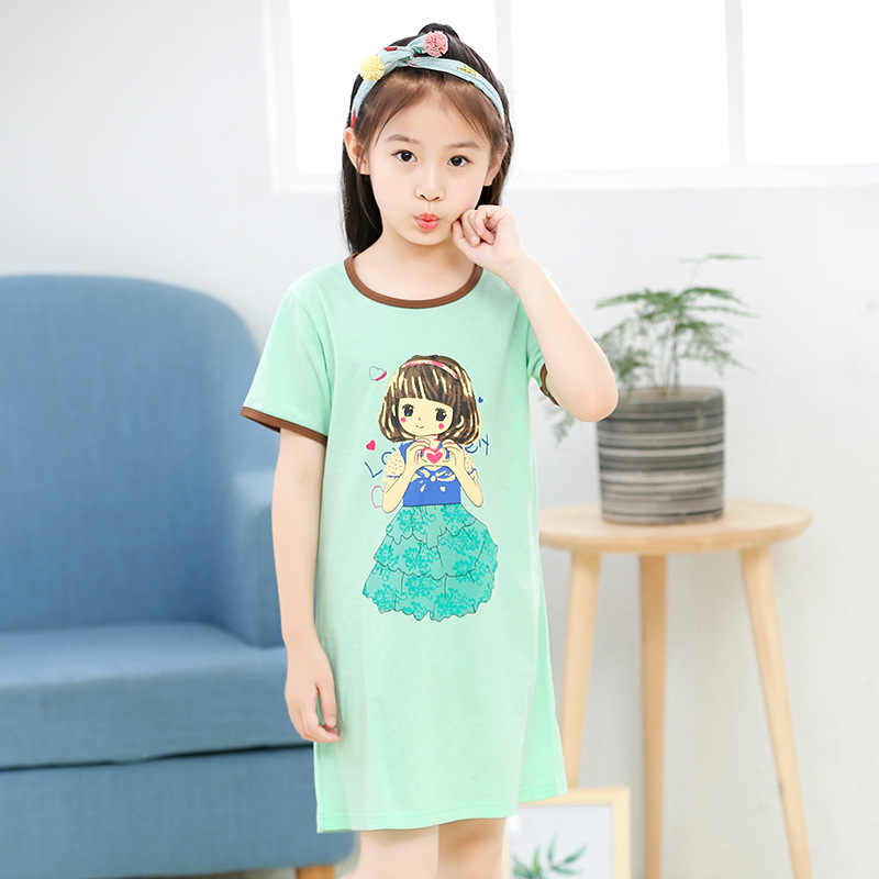e84b2d908d85f ... Totoro Cotton Nightdress Little Teen Girls Pajamas Dresses Children  Cartoon Summer Nightgown Home Clothes Kids Sleepwear ...