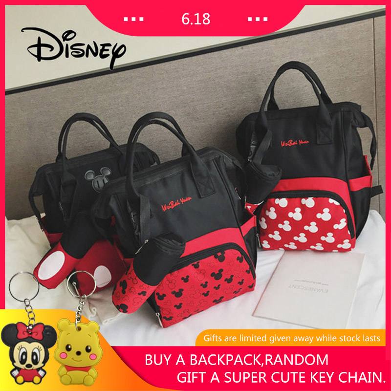 Disney Mickey Mouse Women Backpack Cute Cartoon Minnie Large Capacity Girl Bag Fashion Travel Mummy Package