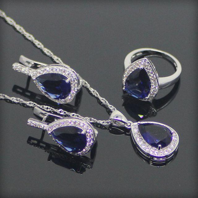 Gota de Plata de ley 925 Azul Creado Zafiro Topacio Blanco Sistemas de La Joyería Para Las Mujeres Collar/Pendiente/Anillos/Pendientes Caja libre