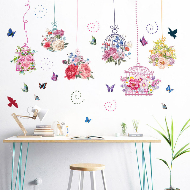[[Fundecor] DIY Flower Birdcage Art Adhesive Wall Decor Decals Removable  Living Room Kitchen