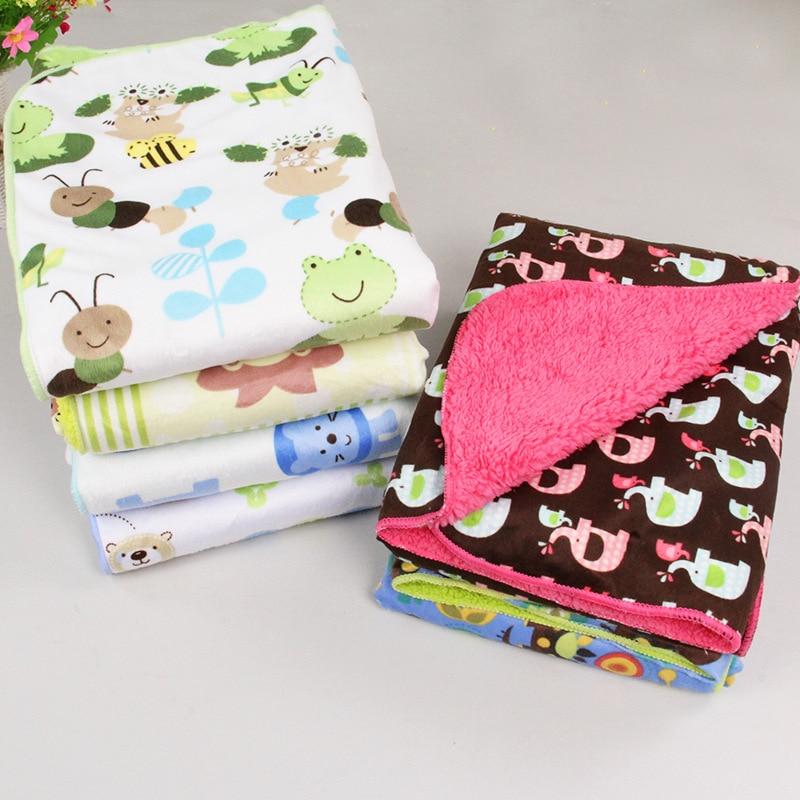Bebe Blankets Sheet Thicken Double Layer Coral Fleece Infant Swaddle Bebe Envelope Wrap Owl Printed Newborn Baby Bedding Blanket