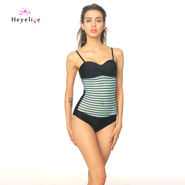 cc8c6e0afe453 Sexy Mesh Striped Swimwear Women Vintage Push Up One Piece Swimsuits Beach  High Cut Swim Bathing
