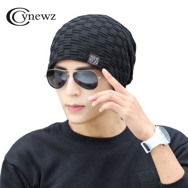 8c094b58fca Hedging Cap Men Winter Warm Knit Hat Fluff Thicker Skullies   Beanies High  Quality Fashion Black Simple Street Leisure Warm Cap