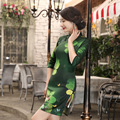 Slim fit Slant Collar Women Green Dress Chinese Tradition Clothing Qipao Short Floral Pattern Cheongsam Sexy Dress