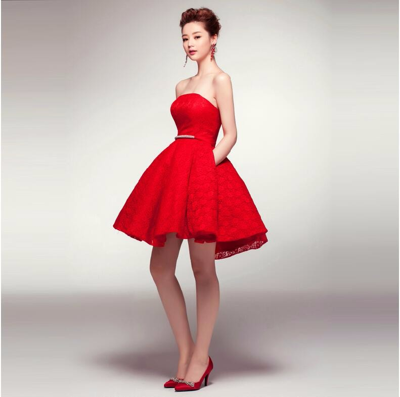 Red Strapless Cocktail Dress Promotion-Shop for Promotional Red ...