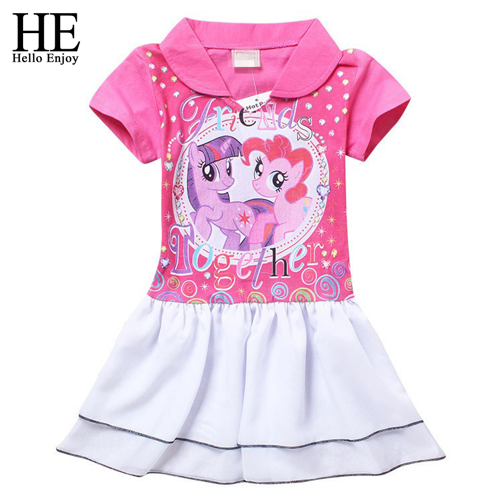 HE Hello Enjoy Girls dress summer 2016 dress girl cute kids clothes Pink girls cotton dress toddler girl clothing dresses