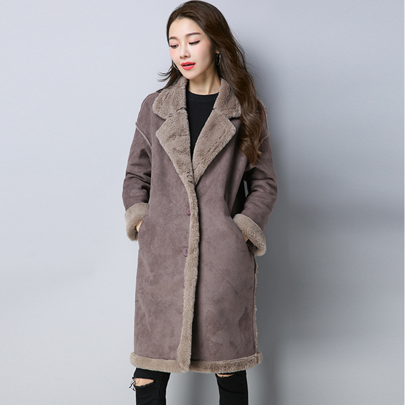 2018 Women Winter wool jacket   leather   plus velvet thick coat Long section deerskin lapel parkas warm deerskin jacket QH1081